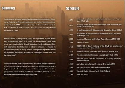 Programme of the Urban Air Quality Symposium in Delft, 2017.02.17