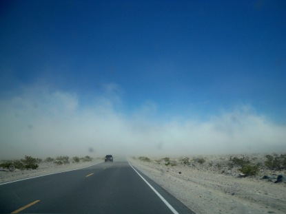An example of reduced visibility (i.e. shielding effect) due to the dust storm: the mountain behind the dust particles is completely masked.