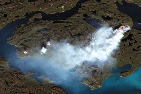 Smoke from the Greenland fire, August 2017, seen in satellite images copernicus sentinel -2b/pierre Markuse/ESA (Source: https://www.newscientist.com/article/2143159-largest-ever-wildfire-in-greenland-seen-burning-from-space)