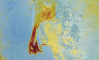 Smoke plume from TROPOMI S5P in California region. Credit KNMI / ESA (Source: http://www.bbc.com/news/science-environment-42375062).