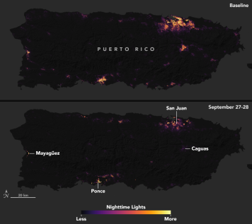 SUOMI-NPP images o night light in Puerto Rico on September 27-28 2017. One image in each pair shows a typical night before Maria made landfall, based upon cloud-free and low moonlight conditions; the second image is a composite that shows light detected by VIIRS on the nights of September 27 and 28, 2017. By compositing two nights, the image has fewer clouds blocking the view. (Note: some clouds still blocked light emissions during the two nights, especially across southeastern and western Puerto Rico.) The images above show widespread outages around San Juan, including key hospital and transportation infrastructure. Credit NASA (Source: https://earthobservatory.nasa.gov/IOTD/view.php?id=91044).