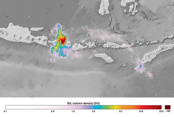 SO2 - Sulphur dioxide observed by TROPOMI from the Mount Agung volcanic eruption on Bali, Indonesia, on 27 November 2017. Credit KNMI/ESA (Source: http://www.esa.int/spaceinimages/Images/2017/12/Sentinel-5P_captures_Bali_volcanic_eruption).