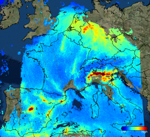 One of the first images from the Copernicus Sentinel-5P mission shows nitrogen dioxide over Europe on 22 November 2017. It shows high emissions over the Po Valley in northern Italy and over western Germany. Nitrogen dioxide pollutes the air mainly as a result of industrial fossil fuel combustion and road traffic. Credit KNMI/ESA (Source: http://www.esa.int/spaceinimages/Images/2017/12/Sentinel-5P_sees_nitrogen_dioxide_over_Europe).