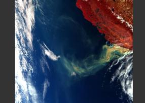 Smoke over Pacific Ocean released by California wildfires in 2017.12.10 and observed by OLCI on the Copernicus Sentinel-3 satellite: false colour composite based on 17-5-2 bands.