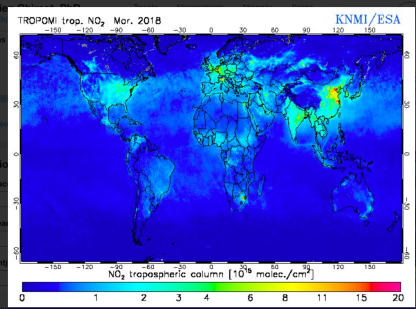 Monthly average Tropospheric NO2 from TROPOMI on-board Sentinel-5 Precursor, March 2018