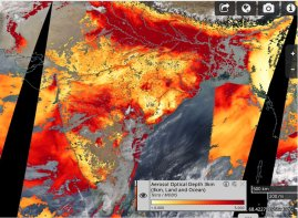 MODIS Terra Aerosol Optical Depth (AOD) (550 nm). Source: NASA EODIS WorldView https://worldview.earthdata.nasa.gov/?p=geographic&l=VIIRS_SNPP_CorrectedReflectance_TrueColor(hidden),MODIS_Aqua_CorrectedReflectance_TrueColor(hidden),MODIS_Terra_CorrectedReflectance_TrueColor,AIRS_CO_Total_Column_Day(hidden),OMI_Nitrogen_Dioxide_Tropo_Column(hidden),MODIS_Fires_Terra,MODIS_Terra_Aerosol_Optical_Depth_3km(hidden),Reference_Labels(hidden),Reference_Features(hidden),Coastlines&t=2016-01-16&z=3&v=-144.91024116847828,-98.2219769021739,179.4795346467391,100.9030230978261