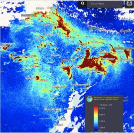 Tropospheric NO2 vertical column density from Sentinel-5 Precursor TROPOMI, India 2019.01.18. Source: Copernicus SentinelHub https://sentinel-hub.com