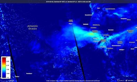 Aerosol Index UVAI retried from TROPOMI Sentinel-5 Precursor over the Saharan dust transport of 2019.03.02. Credit SentinelHub.. Source: https://apps.sentinel-hub.com/eo-browser