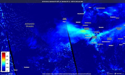Aerosol Index UVAI retried from TROPOMI Sentinel-5 Precursor over the Saharan dust transport of 2019.03.02. Credit SentinelHub.. Source: https://apps.sentinel-hub.com/eo-browser