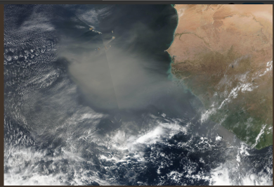 RGB composite image from SUOMI VIIRS of the Saharan dust transport of 2019.03.02. Credit: NASA EODIS Worldview Source: https://worldview.earthdata.nasa.gov