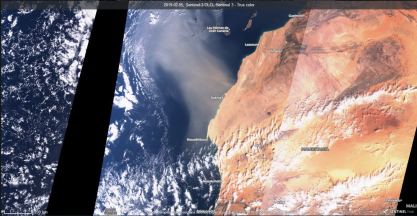 RGB Composite image from OLCI Sentinel-3 of the Saharan dust outbreak of 2019.02.05. Credit SentinelHub.. Source: https://apps.sentinel-hub.com/eo-browser