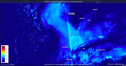Aerosol Index UVAI retried from TROPOMI Sentinel-5 Precursor over the Saharan dust outbreak of 2019.02.05. Credit SentinelHub.. Source: https://apps.sentinel-hub.com/eo-browser